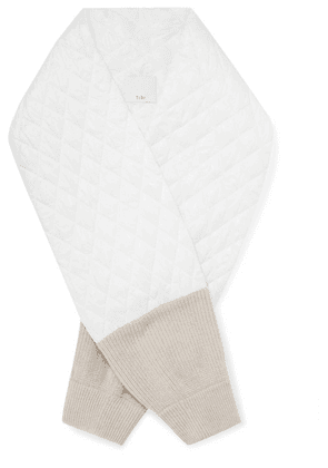 Tibi - Two-tone Quilted Shell And Ribbed Merino Wool Scarf - White