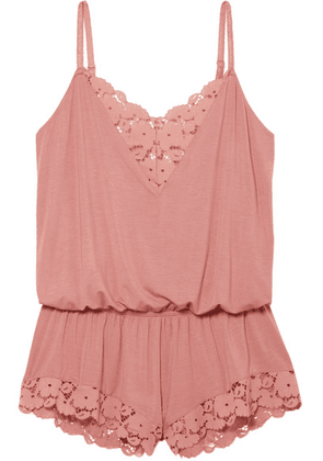 Eberjey - Naya Lace-trimmed Stretch-modal Jersey Playsuit - Antique rose