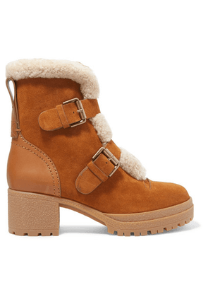 See By Chloé - Shearling-trimmed Suede And Leather Ankle Boots - Tan