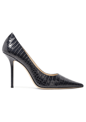 Jimmy Choo - Love 100 Croc-effect Leather Pumps - Midnight blue