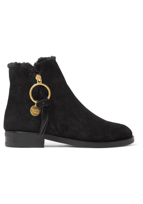 See By Chloé - Shearling-lined Suede Ankle Boots - Black