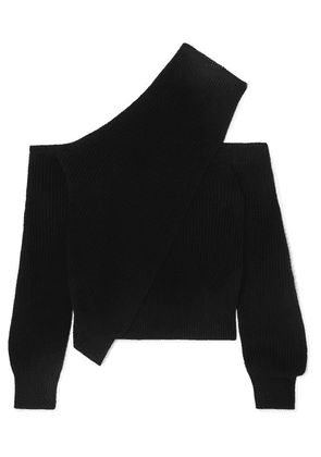 RtA - Juliet One-shoulder Ribbed Cotton Sweater - Black