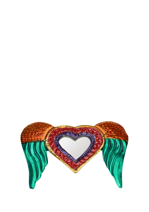Small Neon Winged Heart Mirror