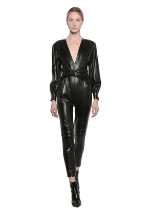 Faux Leather Jumpsuit W/bow