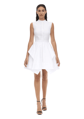 Peplum Cotton Piquet Mini Dress