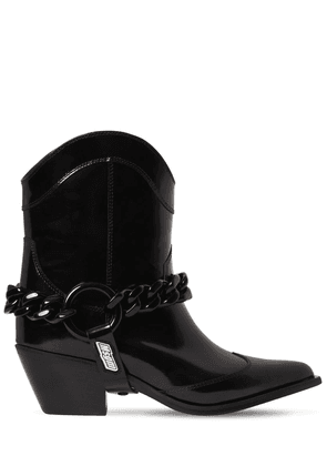 60mm Chain Cowboy Leather Ankle Boots