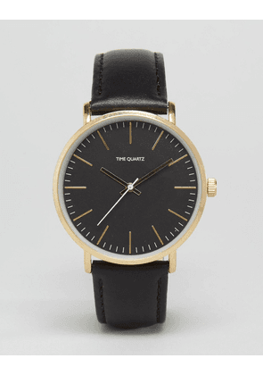 ASOS Watch With Leather Strap In Black