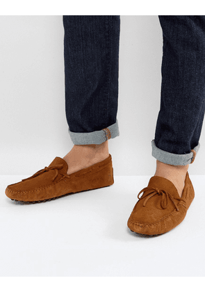 ASOS Driving Shoes In Tan Suede With Tie Front