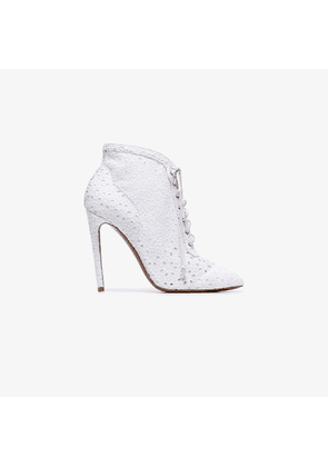 Alaïa white 110 lace wrapped leather ankle boots
