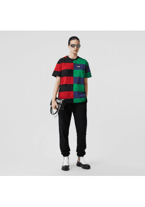 Burberry Contrast Stripe Cotton Oversized T-shirt, Size: L, Red