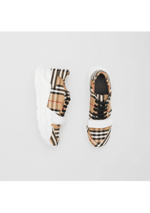 Burberry Vintage Check Cotton Sneakers, Size: 39, Beige