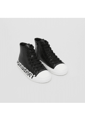 Burberry Childrens Logo Print Two-tone Leather High-top Sneakers, Size: 27, Black