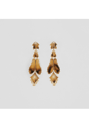 Burberry Resin and Gold-plated Drop Earrings, Yellow