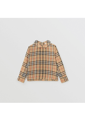 Burberry Childrens Pintuck Detail Vintage Check Cotton Twill Blouse, Size: 10Y, Beige