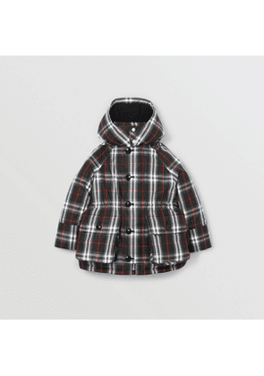Burberry Childrens Vintage Check Down-filled Hooded Puffer Jacket, Size: 10Y, Black