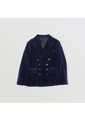 Burberry Childrens Velvet Double-breasted Blazer, Size: 10Y, Blue