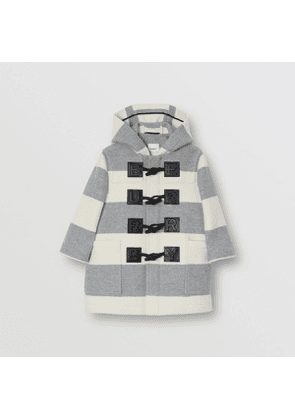 Burberry Childrens Logo Detail Striped Wool Cashmere Blend Duffle Coat, Size: 10Y, Grey