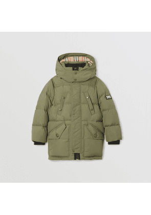 Burberry Childrens Detachable Hood Down-filled Puffer Coat, Size: 10Y, Green