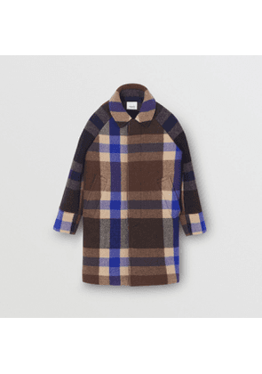 Burberry Childrens Check Wool Cashmere Blend Car Coat, Size: 10Y, Blue