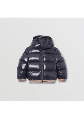 Burberry Childrens Icon Stripe Detail Down-filled Hooded Puffer Jacket, Size: 10Y, Blue