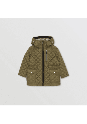 Burberry Childrens Diamond Quilted Hooded Coat, Size: 10Y, Green