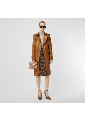 Burberry Topstitch Detail Lambskin Trench Coat, Size: 06, Brown
