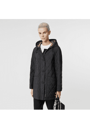 Burberry Diamond Quilted Thermoregulated Hooded Coat, Black