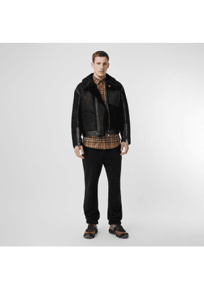 Burberry Shearling and Leather Jacket, Size: 44, Black