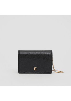 Burberry Grainy Leather Card Case with Detachable Strap, Black