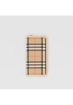 Burberry Vintage Check E-canvas and Leather Wallet, Beige