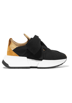 MM6 Maison Margiela - Suede-trimmed Stretch-knit And Canvas Sneakers - Gold