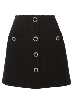 Alessandra Rich - Button-embellished Wool-blend Tweed Mini Skirt - Black