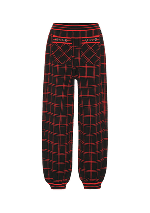 Embellished checked wool pants