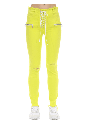 Lace Up Cotton Blend Skinny Jeans