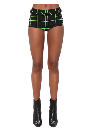 Belted Check Flocked Crepe Hot Pants