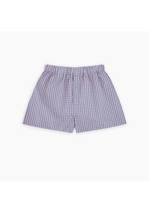 Red and Blue Brush Check Cotton Boxer Shorts