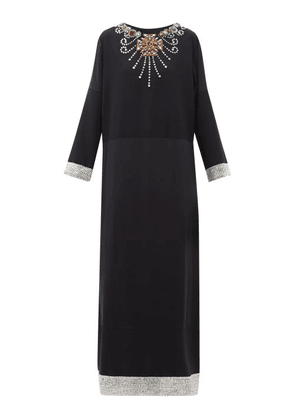 Gucci - Crystal Embellished Wool And Silk Blend Satin Gown - Womens - Black Multi
