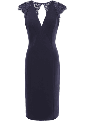 Catherine Deane Open-back Cady And Lace Dress Woman Navy Size 6