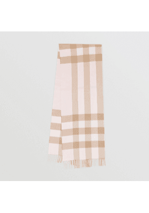 Burberry Check Cashmere Scarf, Alabaster Pink