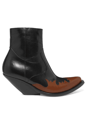 Vetements - Kick-ass Two-tone Leather Ankle Boots - Black
