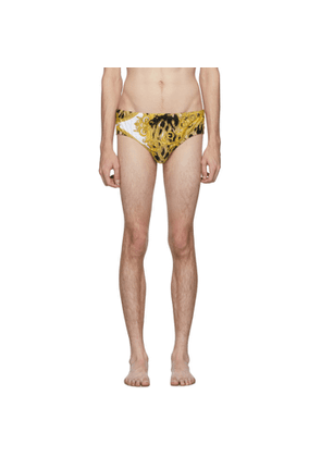 Versace Underwear White and Gold Animal Swim Briefs