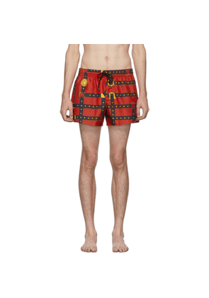 Versace Underwear Red Bondage Print Swim Shorts