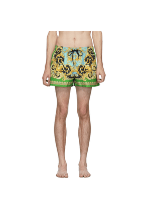 Versace Underwear Green and Blue Barocco Swim Shorts