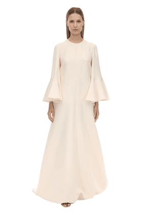 Long Couture Ruffled Sleeves Crepe Dress