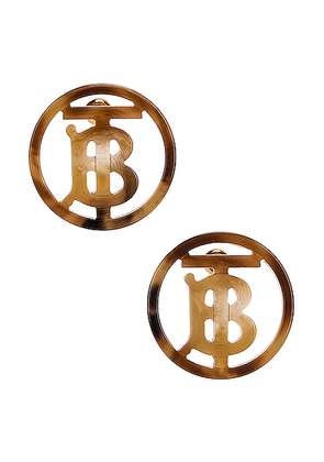Burberry Large Outline Earrings in Light Gold &Tartaruga - Brown. Size all.