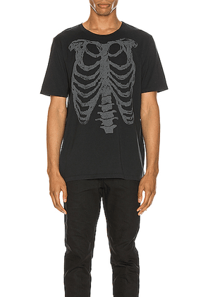 Saint Laurent Ribcage Print Tee in Washed Black & Natural - Black. Size XS (also in S,M,L,XL).