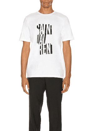 Saint Laurent Logo Tee in Natural & Black - Black. Size S (also in L,XL,XS,M).