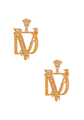 VERSACE Tribute Earrings in Gold - Metallic Gold. Size all.