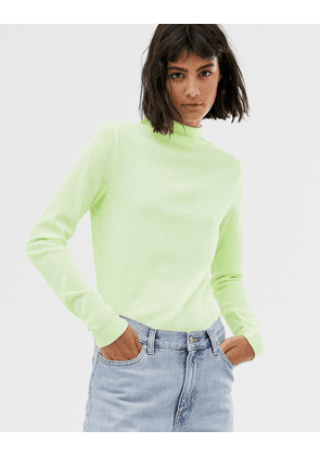 Weekday flute turtleneck in neon yellow