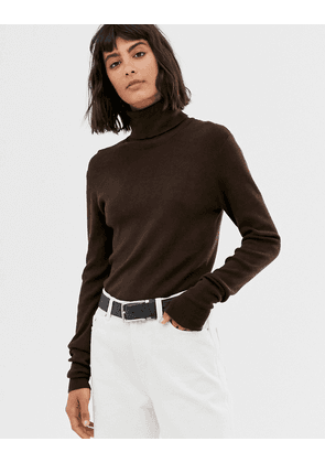 Weekday roll neck top in dark brown